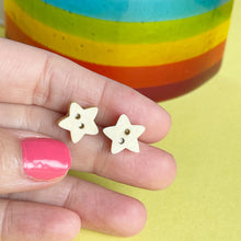 Load image into Gallery viewer, Sterling Silver Wooden Star Earrings