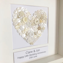 Load image into Gallery viewer, Ivory Anniversary button ivory heart, framed picture