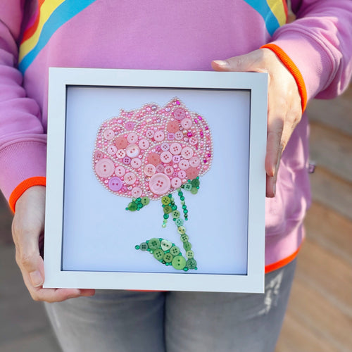Pink Peony Button Art | 12th Wedding Anniversary Gift