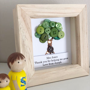 Thank you for helping me grow. Teacher thank you present framed button art.