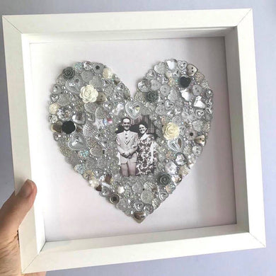 Heart button artwork in frame. Choose your colour.
