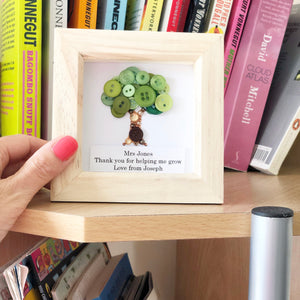 Personalised Teacher Thank You Gift - Small Button Art Tree