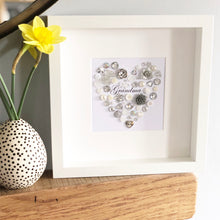 Load image into Gallery viewer, Personalised heart  button artwork for a special Grandmother.