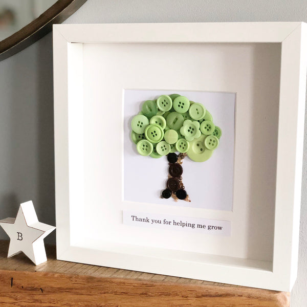 Personalised Teacher Thank You Gift - Button Art Oak Tree