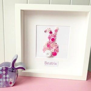 Gorgeous bunny button art - perfect nursery decor