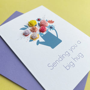 Sending You A Big Hug Handmade Card, A6, Watering Can of Flowers