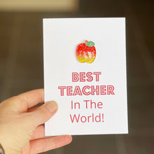 Load image into Gallery viewer, Best Teacher In The World Card | Apple For The Teacher
