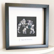 Load image into Gallery viewer, 14th Wedding Anniversary Gift - Personalised Elephant Button Art - Ivory