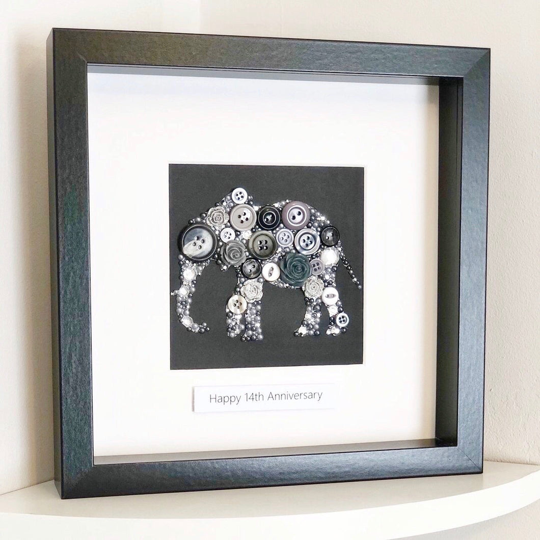 14th Wedding Anniversary Gift - Personalised Elephant Button Art - Ivory