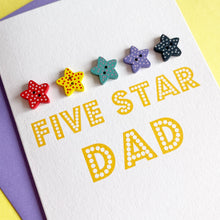 Load image into Gallery viewer, Five Star Dad Card | Handmade Father's Day Card