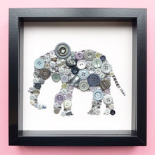 Load image into Gallery viewer, 14th Wedding Anniversary Gift - Framed Elephant Button Art on White - Ivory