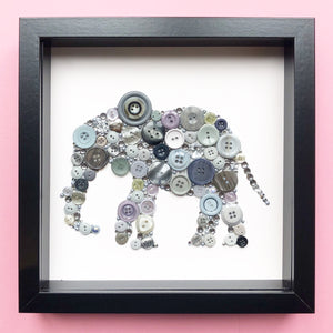 14th Wedding Anniversary Gift - Framed Elephant Button Art on White - Ivory