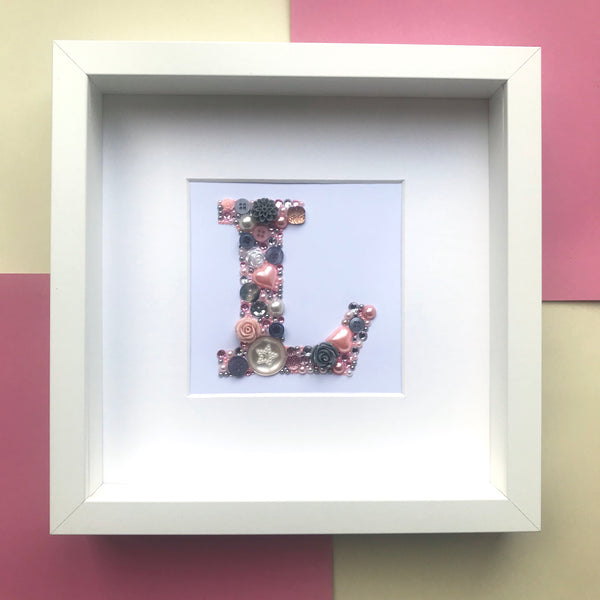 Framed button art initial letter - gift for him