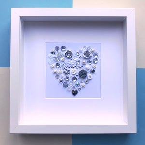 Special gift for Grandma - Personalised framed silver heart for Grandma