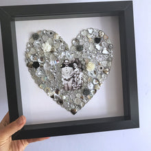 Load image into Gallery viewer, Heart button artwork in frame. Choose your colour.