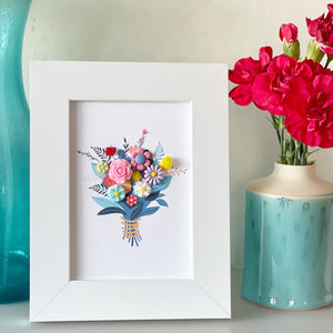 Framed Handmade Bouquet of Flowers Picture