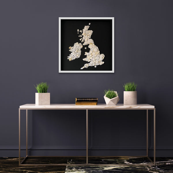 Large monochrome British Isles map button art.
