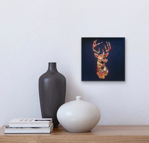 Stags head button art on black - rustic wall art