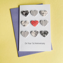Load image into Gallery viewer, Paper Wedding Anniversary Card 9 Hearts- 1st Anniversary