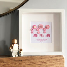 Load image into Gallery viewer, elephants holding balloons pink button art framed picture.