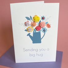 Load image into Gallery viewer, Sending You A Big Hug Handmade Card, A6, Watering Can of Flowers