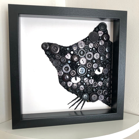 Black Cat Wall Art  - framed button art