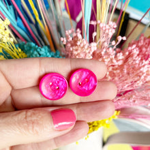Load image into Gallery viewer, Sterling Silver Hot Pink Button Earrings