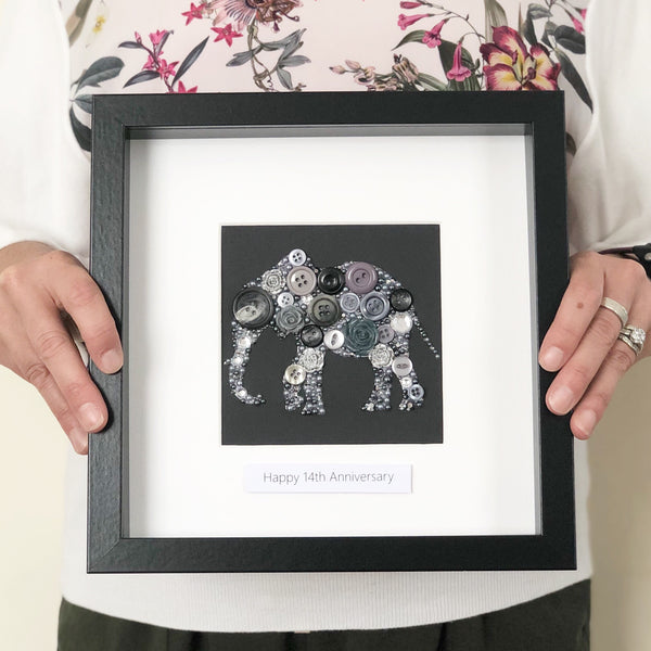 button art elephant artwork in frame