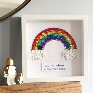 Sparkly rainbow framed button art