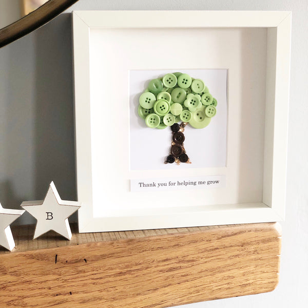 Teacher thank you present. Thank you for helping me grow. Button art oak tree. Framed artwork.