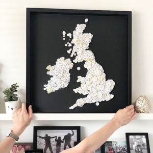 Large 50cm x 50cm map of the British Isles wall art - monochrome map art