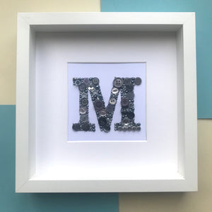 Personalised letter button art framed picture.