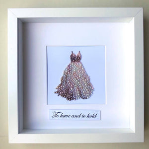Beautiful wedding gown button art framed picture