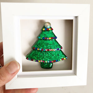 Small Framed Sparkly Christmas Tree