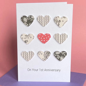 Paper Wedding Anniversary Card 9 Hearts- 1st Anniversary