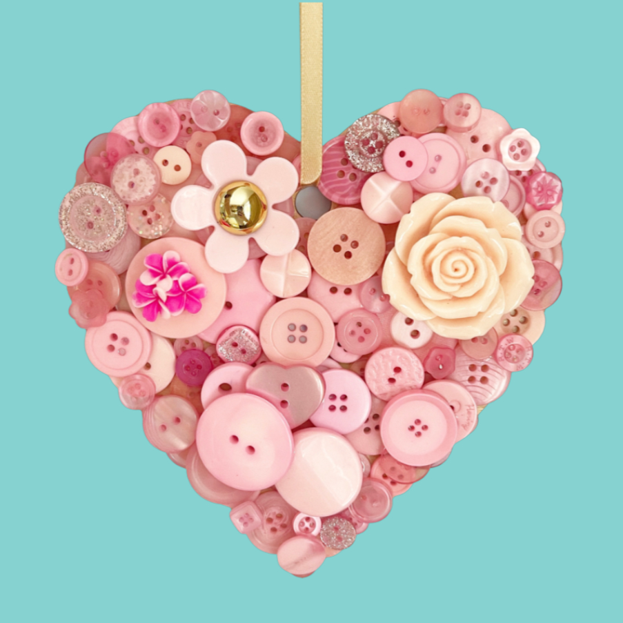 Hanging Heart Button Art - Pink 15cm