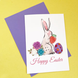 Happy Easter Card - Easter Bunny A6 Handmade Card