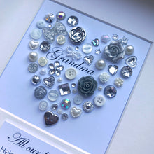Load image into Gallery viewer, Special gift for Grandma - Personalised framed silver heart for Grandma