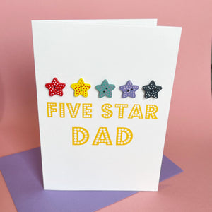 Five Star Dad Card | Handmade Father's Day Card