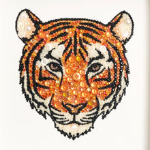 Load image into Gallery viewer, Sparkly original tiger button art. Perfect for any animal lover.