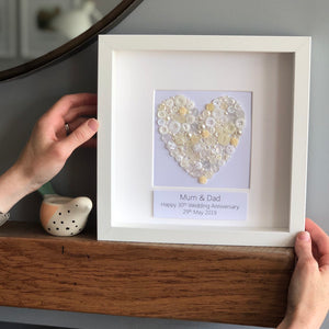 Pearl heart anniversary button art. Framed picture