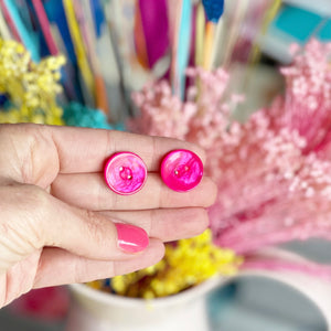 Sterling Silver Hot Pink Button Earrings