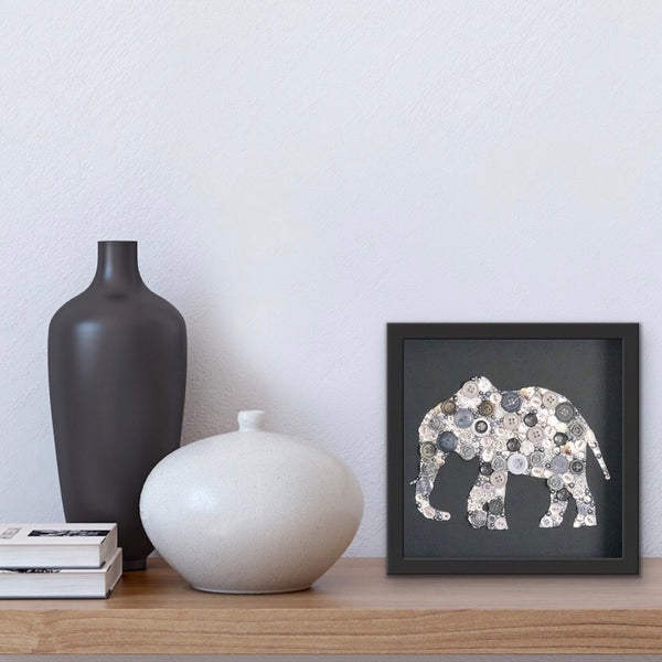 button art elephant on black framed picture
