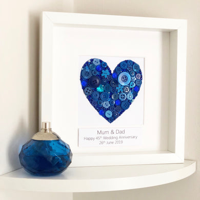 Sapphire Wedding 45 years Anniversary Personalised Gift. Blue heart button art framed picture.