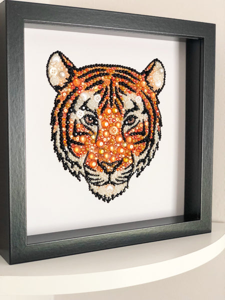 Sparkly original tiger button art. Perfect for any animal lover.