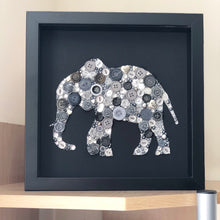 Load image into Gallery viewer, Button art elephant on black. Ivory anniversary framed picture.