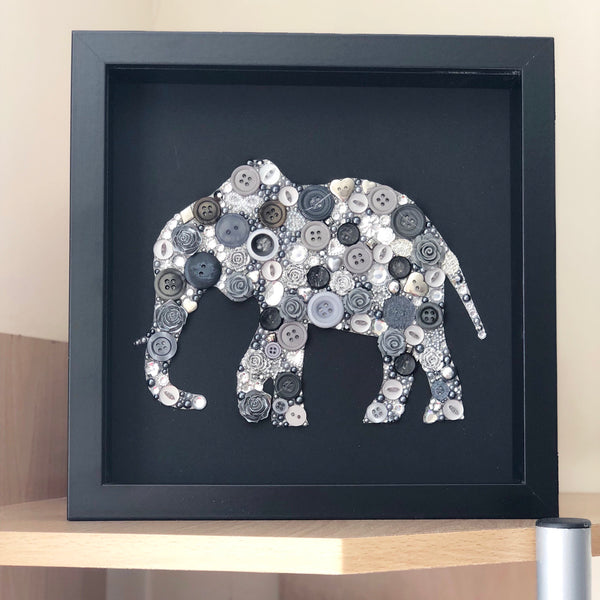 Ivory Wedding Anniversary Gift - Framed Elephant Button Art on Black