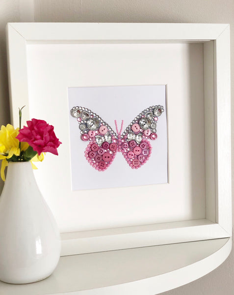 Sparkly butterly button art framed picture.