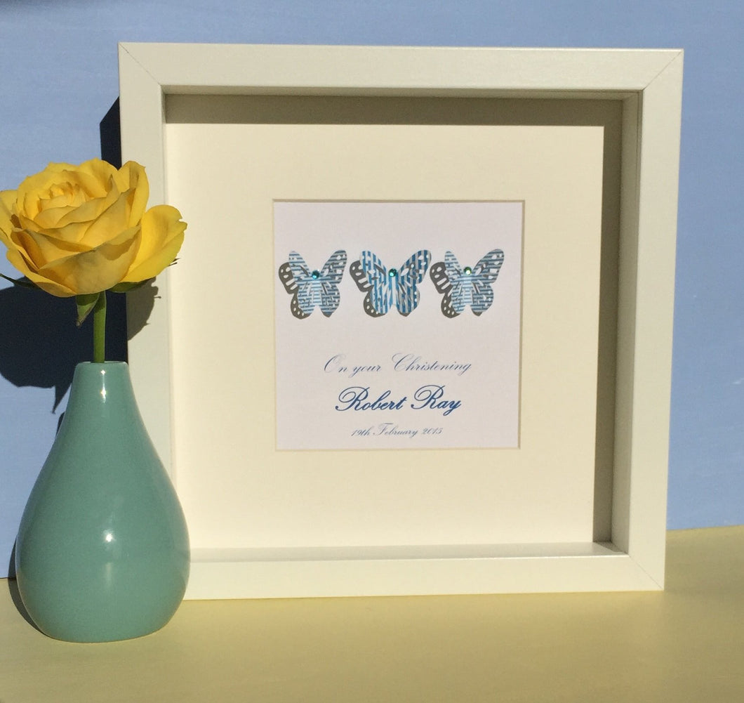 Personalised blue butterflies new baby boy nursery wall art