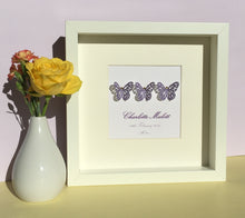 Load image into Gallery viewer, Nursery art. Butterflies button art framed picture.